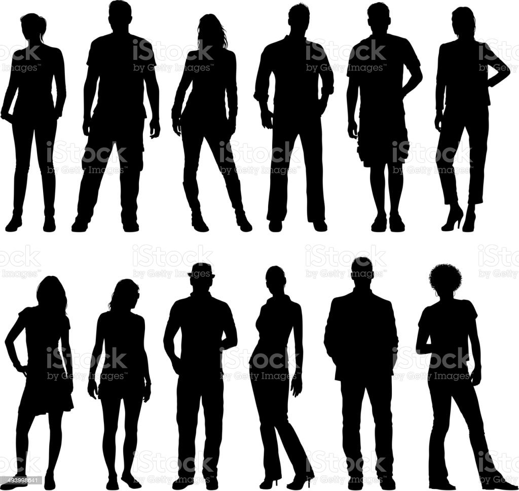 Young People Silhouettes vector art illustration