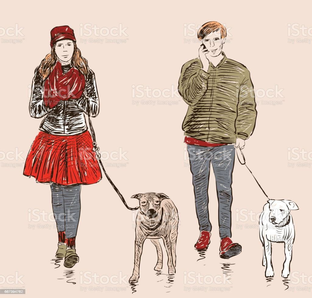 young people with their pets on a stroll vector art illustration