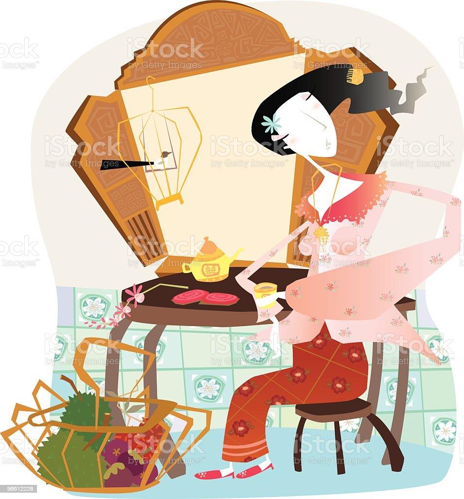 Young Peranakan Woman Drinking Tea vector art illustration