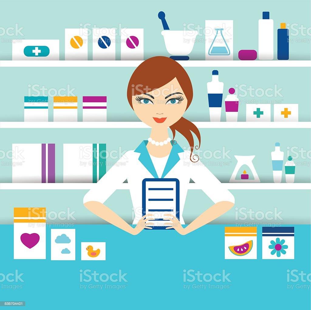Young pharmacy chemist girl standing in drugstore. Flat vector. vector art illustration