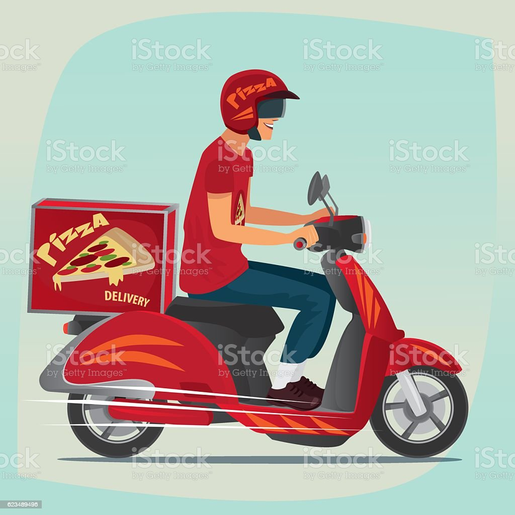 Young pizza courier riding on scooter vector art illustration