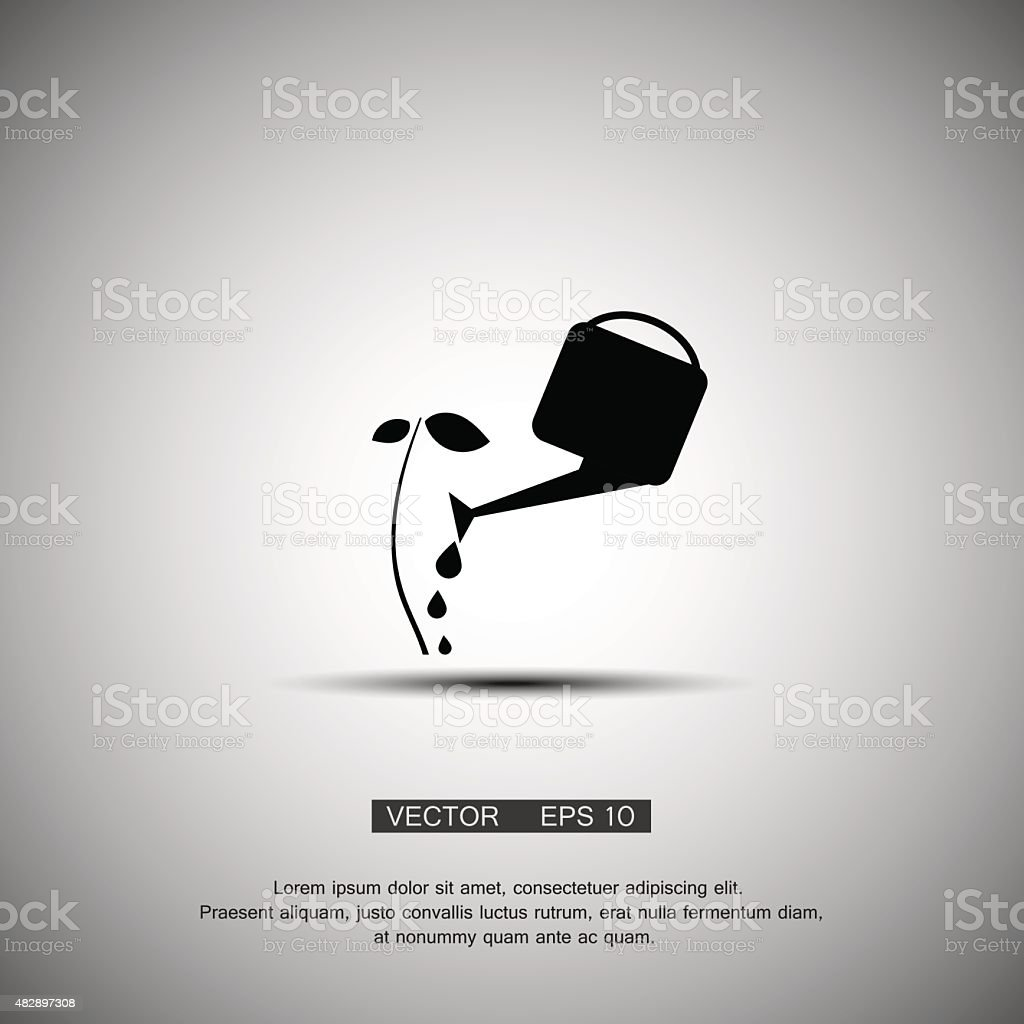 Young plant with watering can and water drops, Isolated On vector art illustration