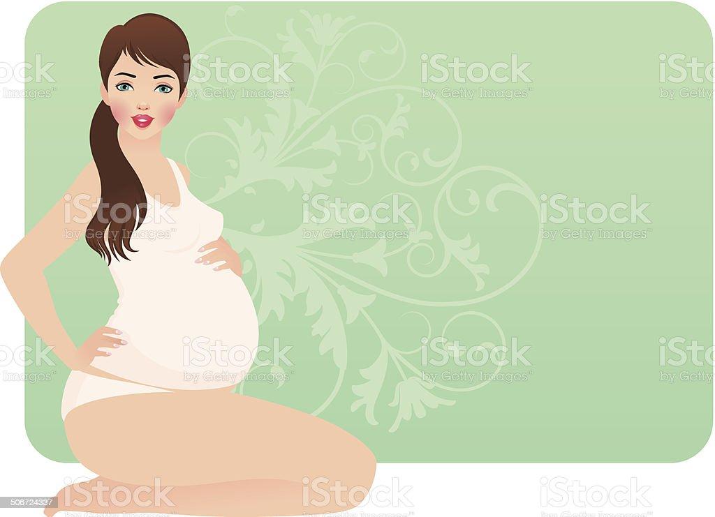 Young pregnant woman vector art illustration