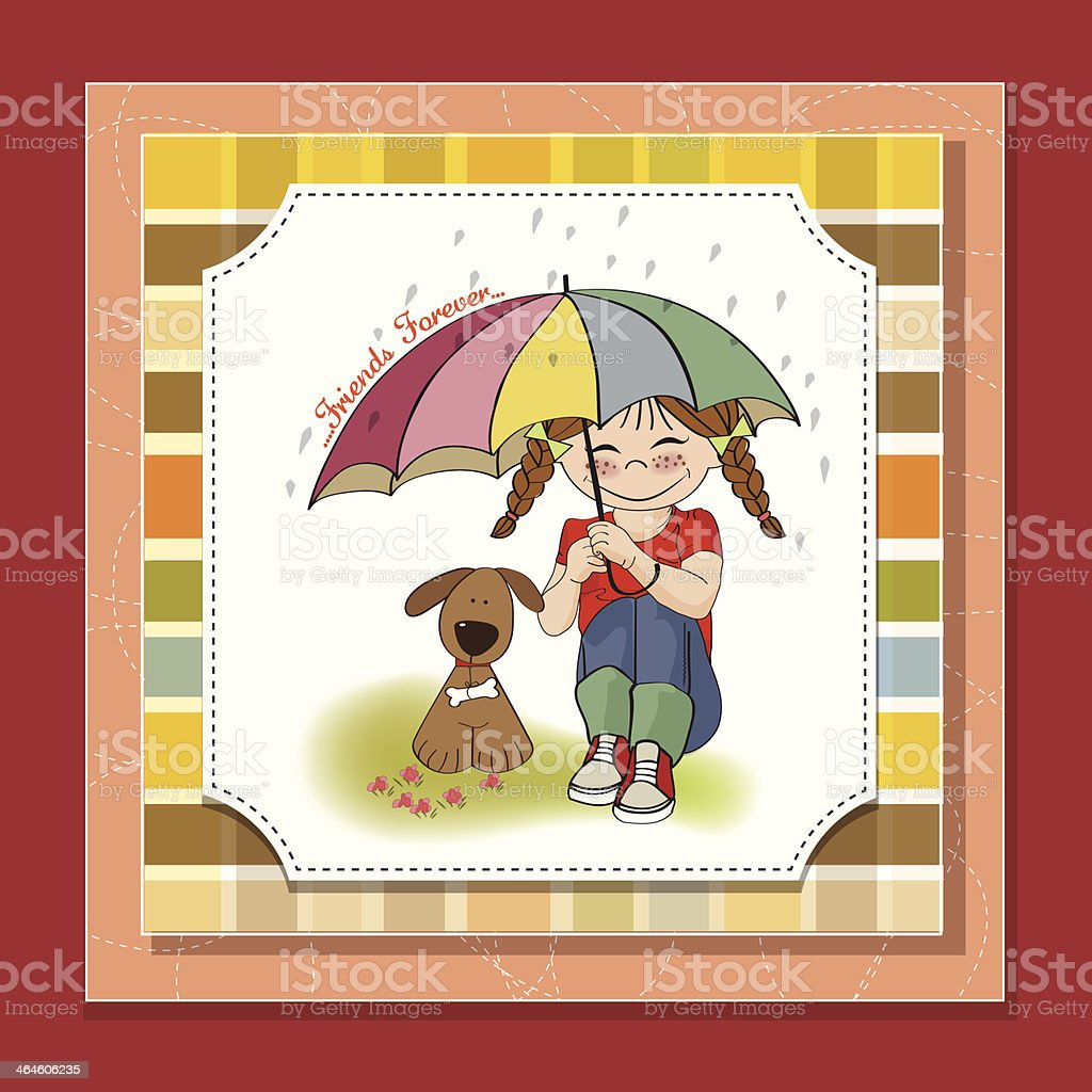 young pretty girl and her dog, friendship card vector art illustration
