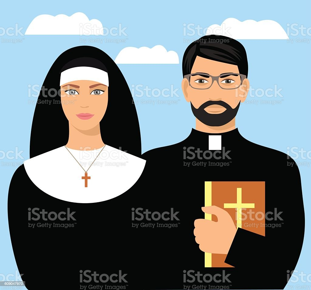 young priest with a bible and a nun. vector art illustration