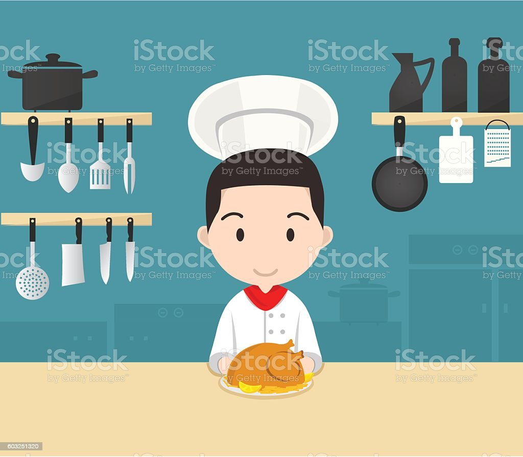 Young professional chef works in Kitchen vector art illustration
