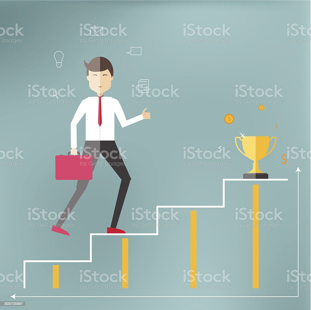 Young professional up the career ladder. vector art illustration