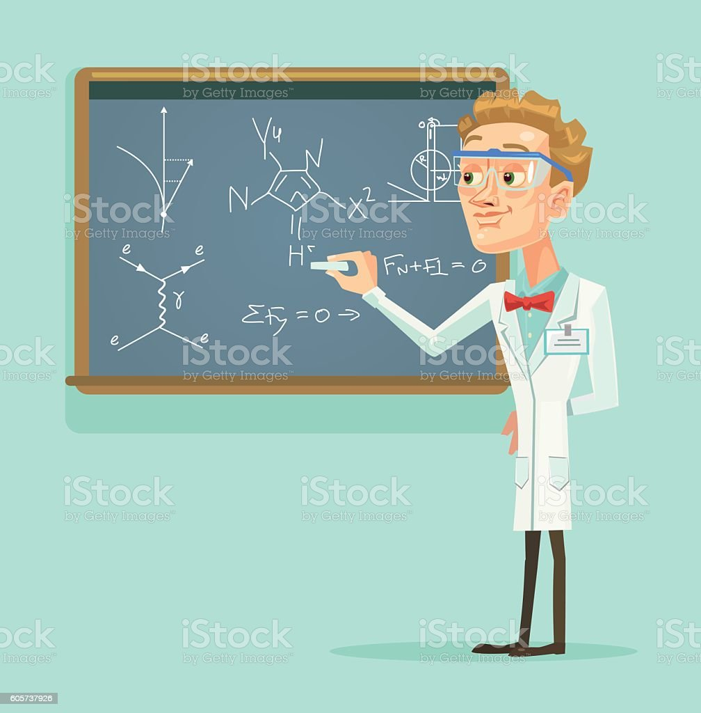 Young professor scientist character with chalkboard in classroom vector art illustration