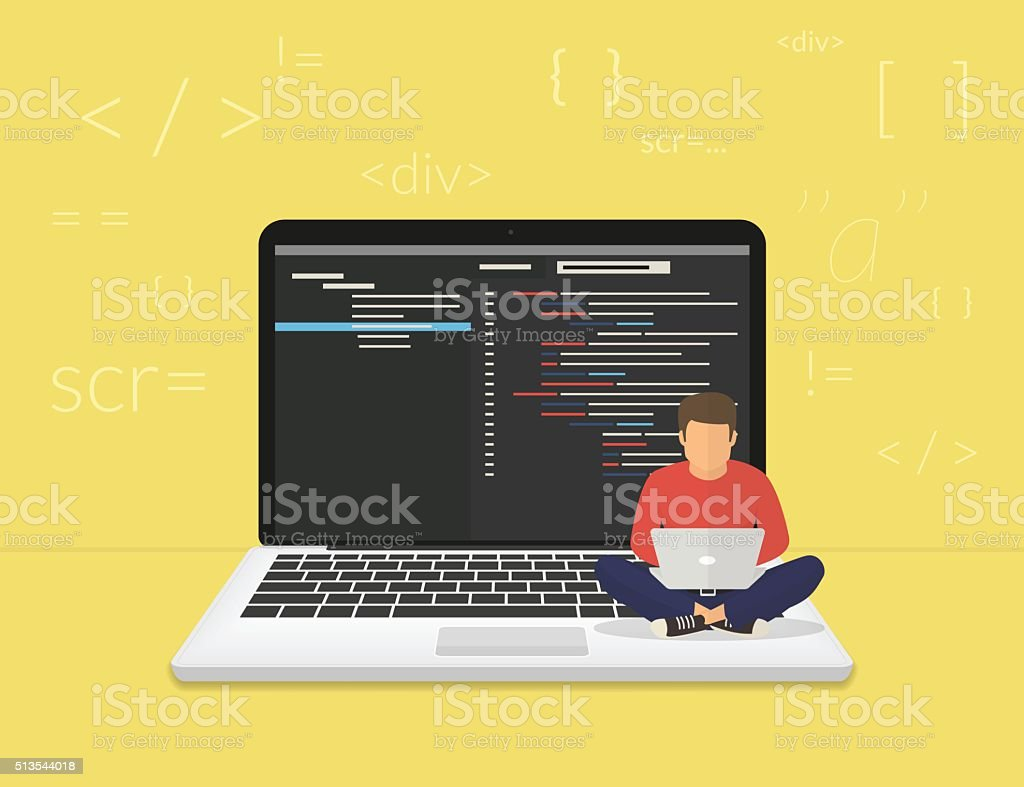 Young programmer coding a new project vector art illustration