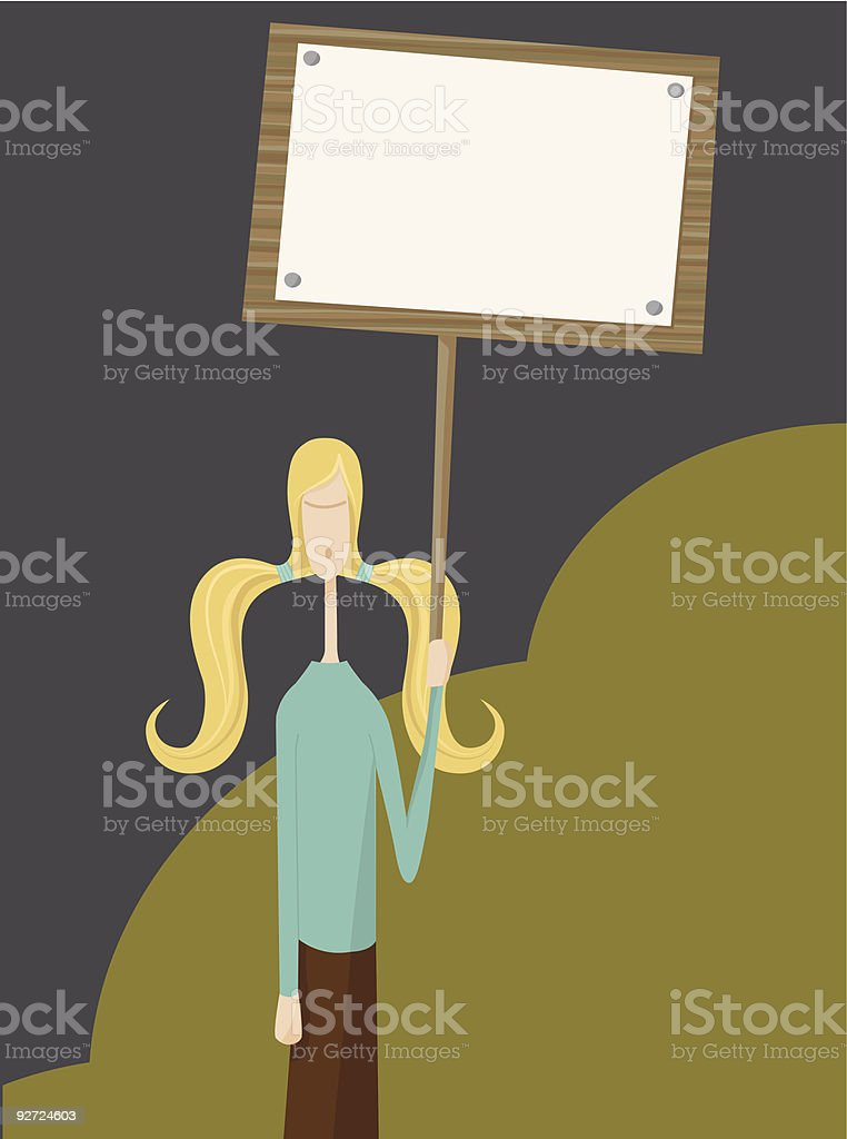 Young Protester royalty-free stock vector art