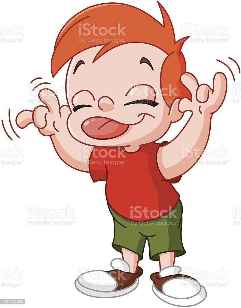 Young red headed boy makes silly face using tongue and hands vector art illustration
