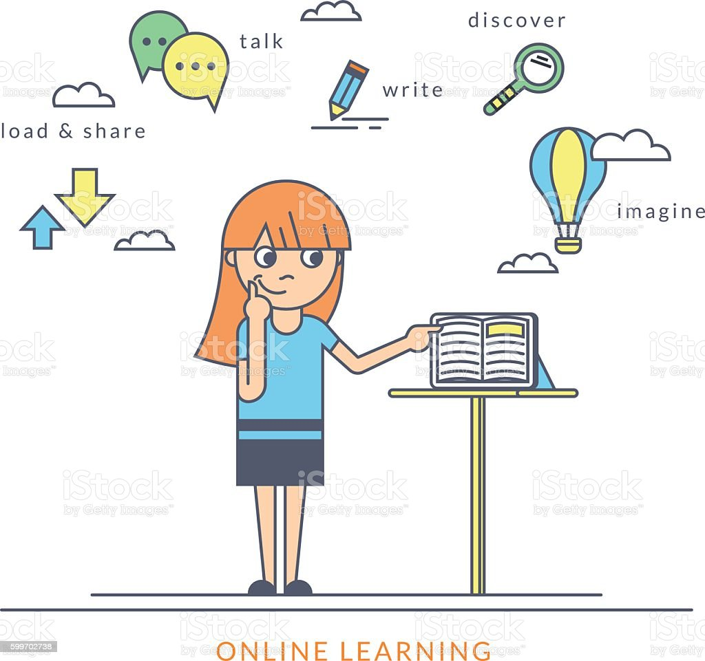 Young redhair girl using a tablet pc and reading ebook vector art illustration