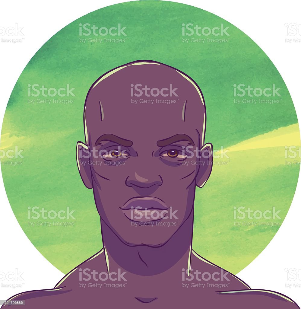 Young  serious muscular bald African American man vector art illustration