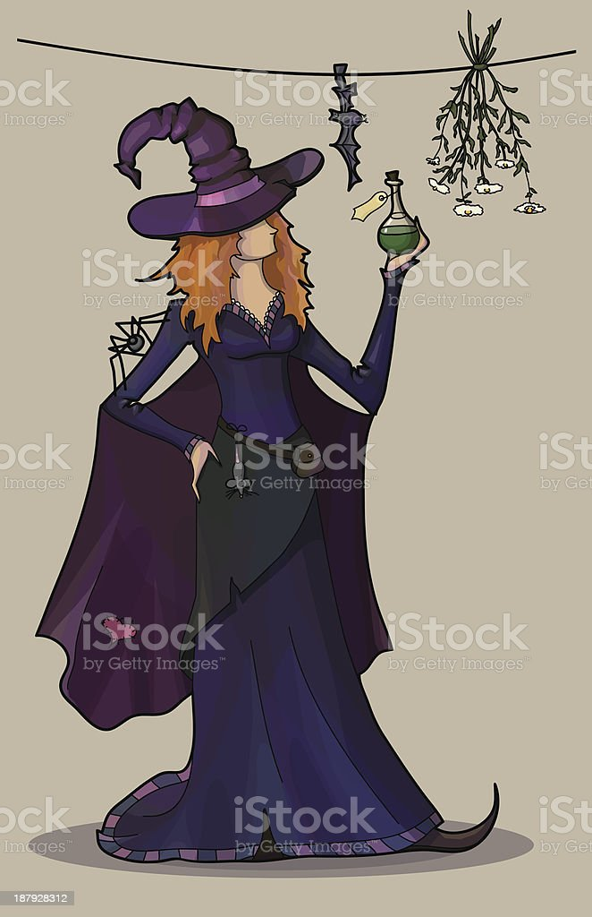 Young sexy witch with poison and spider royalty-free stock vector art