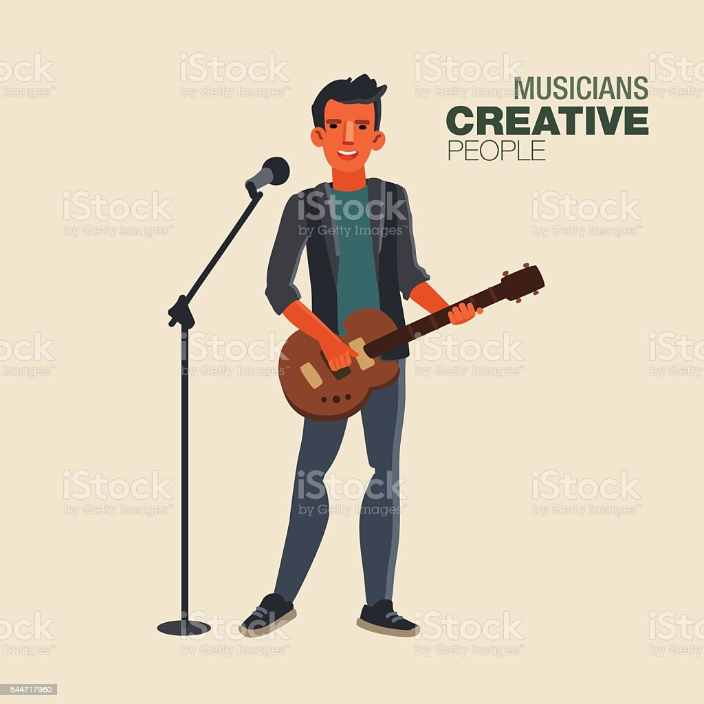 Young singer man playing guitar. Creative people vector art illustration