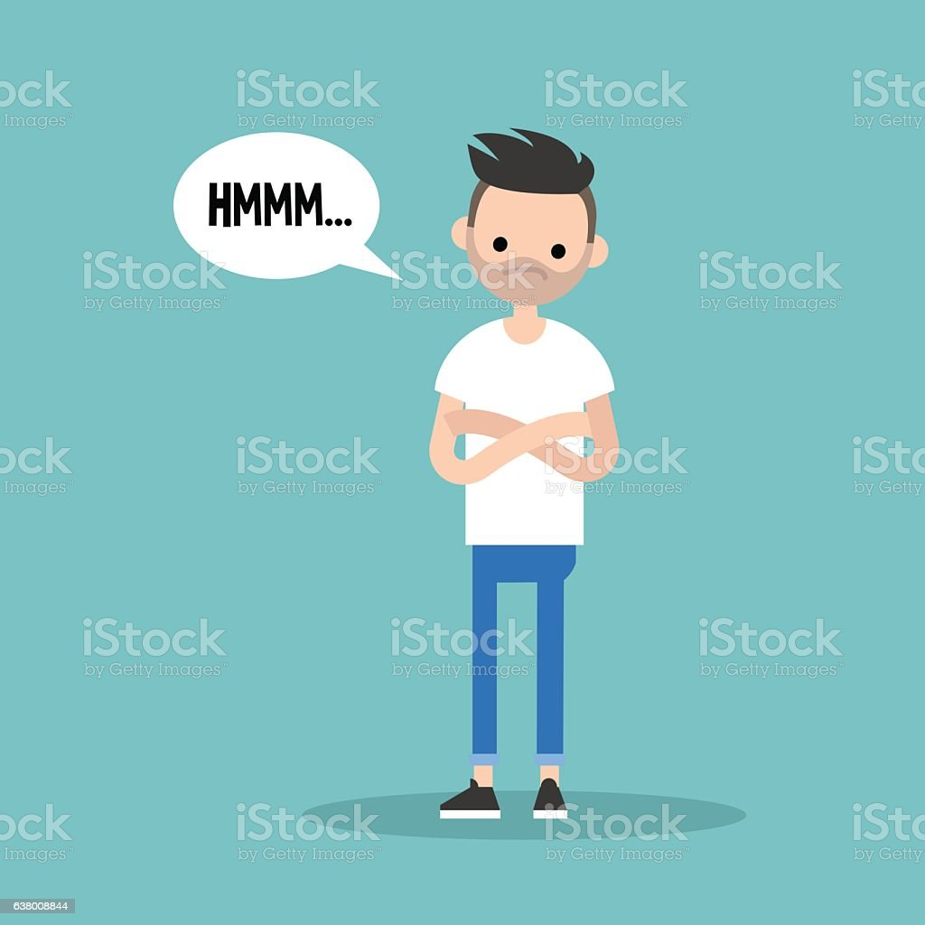 Young skeptical bearded man crossing arms and tilting head vector art illustration