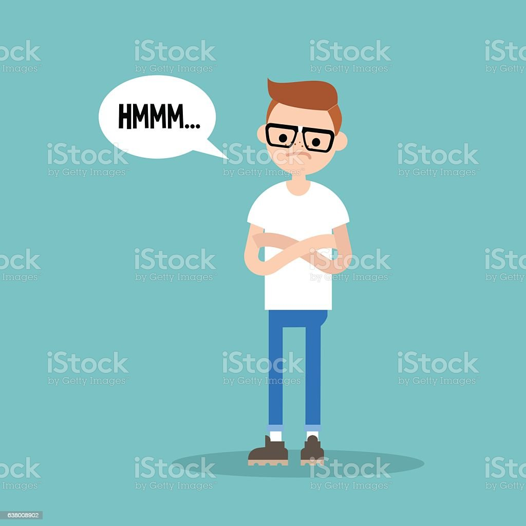 Young skeptical nerd crossing arms and tilting head vector art illustration