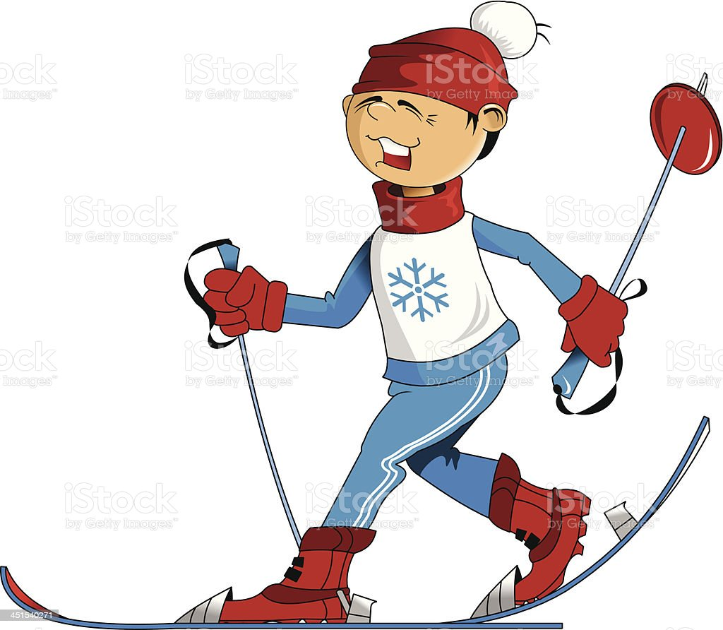 young skier royalty-free stock vector art