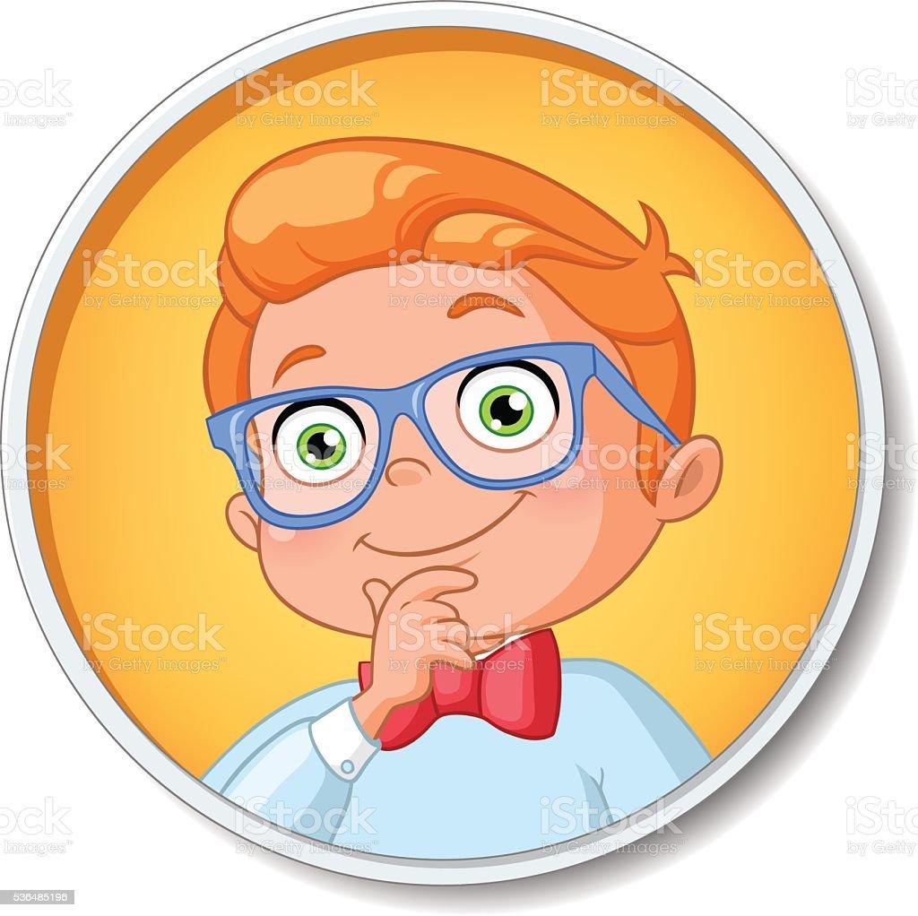 Young smart student boy. Vector illustration. vector art illustration