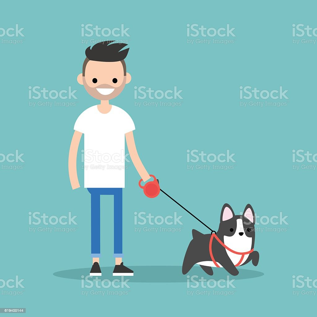 Young smiling bearded man walking the dog vector art illustration