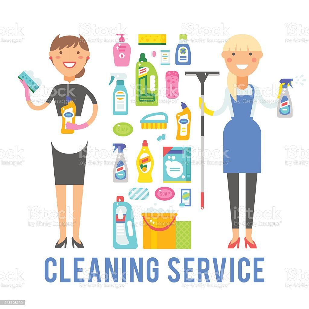 Young smiling cleaner woman service vector isolated over white background vector art illustration