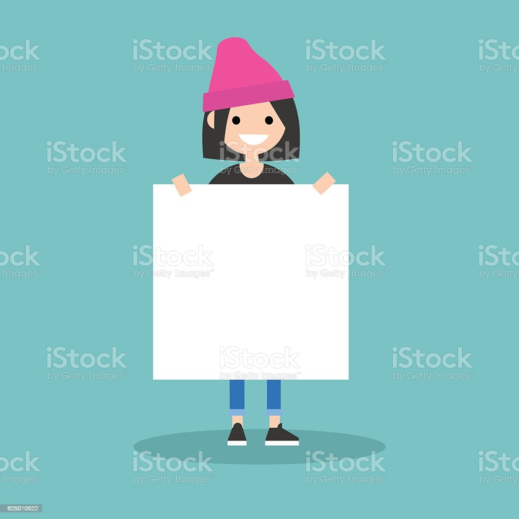 Young smiling girl holding a blank board mock up vector art illustration