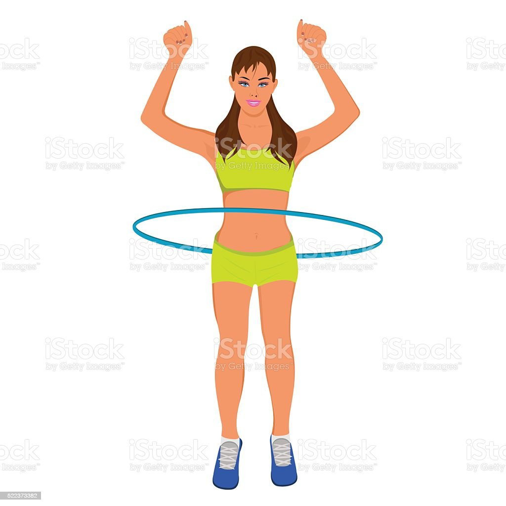 young sporty woman with hoop, fitness, vector illustration vector art illustration
