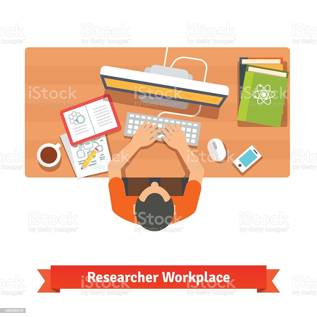 Young student or scientist studying at his home vector art illustration