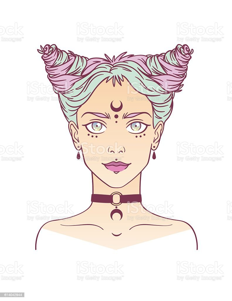 Young subcultural girl with choker and dark moon. vector art illustration