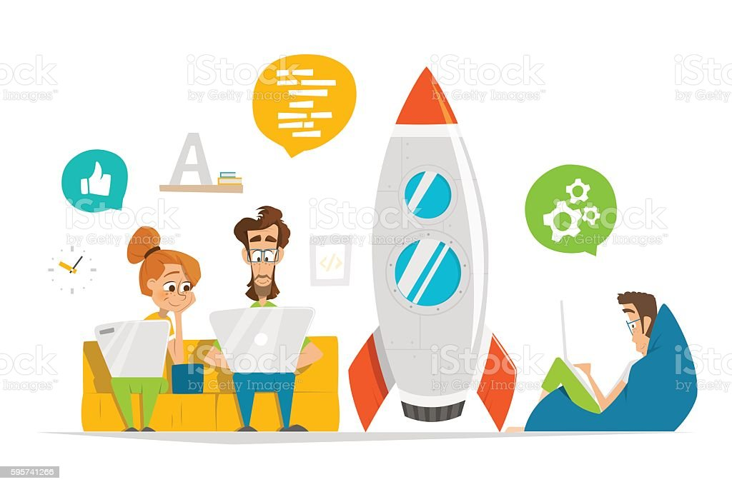 Young team working on startup start up in modern office vector art illustration