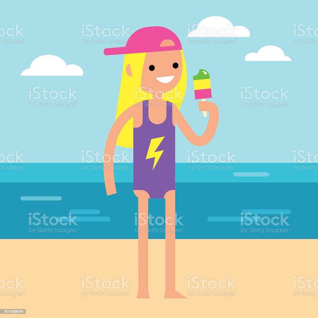 Young teenage girl is on vacation eating ice cream vector art illustration