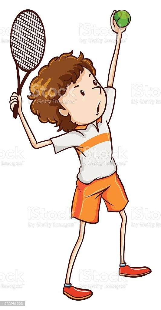 Young tennis enthusiast vector art illustration