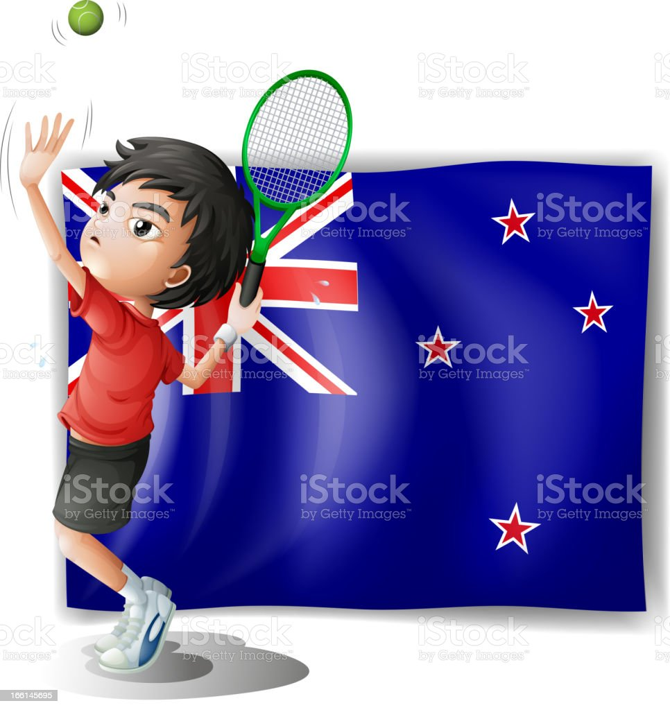 young tennis player in front of the New Zealand flag royalty-free stock vector art