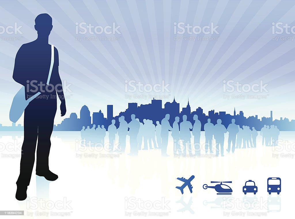 Young traveler with group and city internet background royalty-free stock vector art
