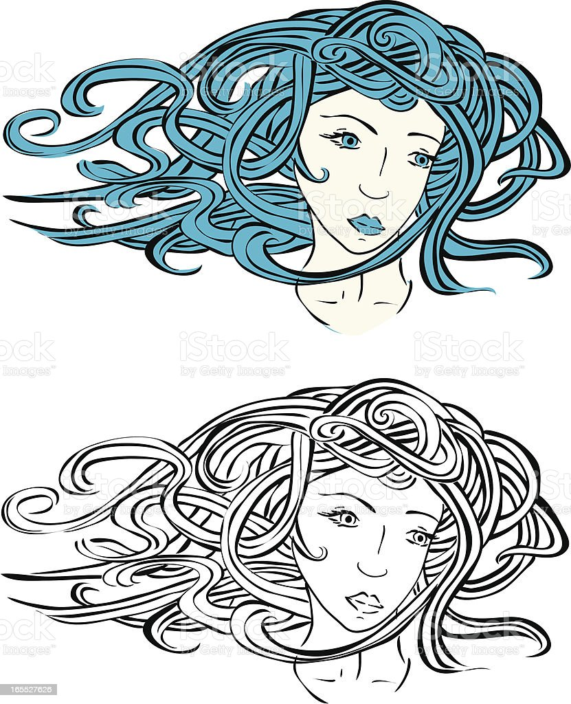 young Venus girl with flowing hair illustration vector art illustration