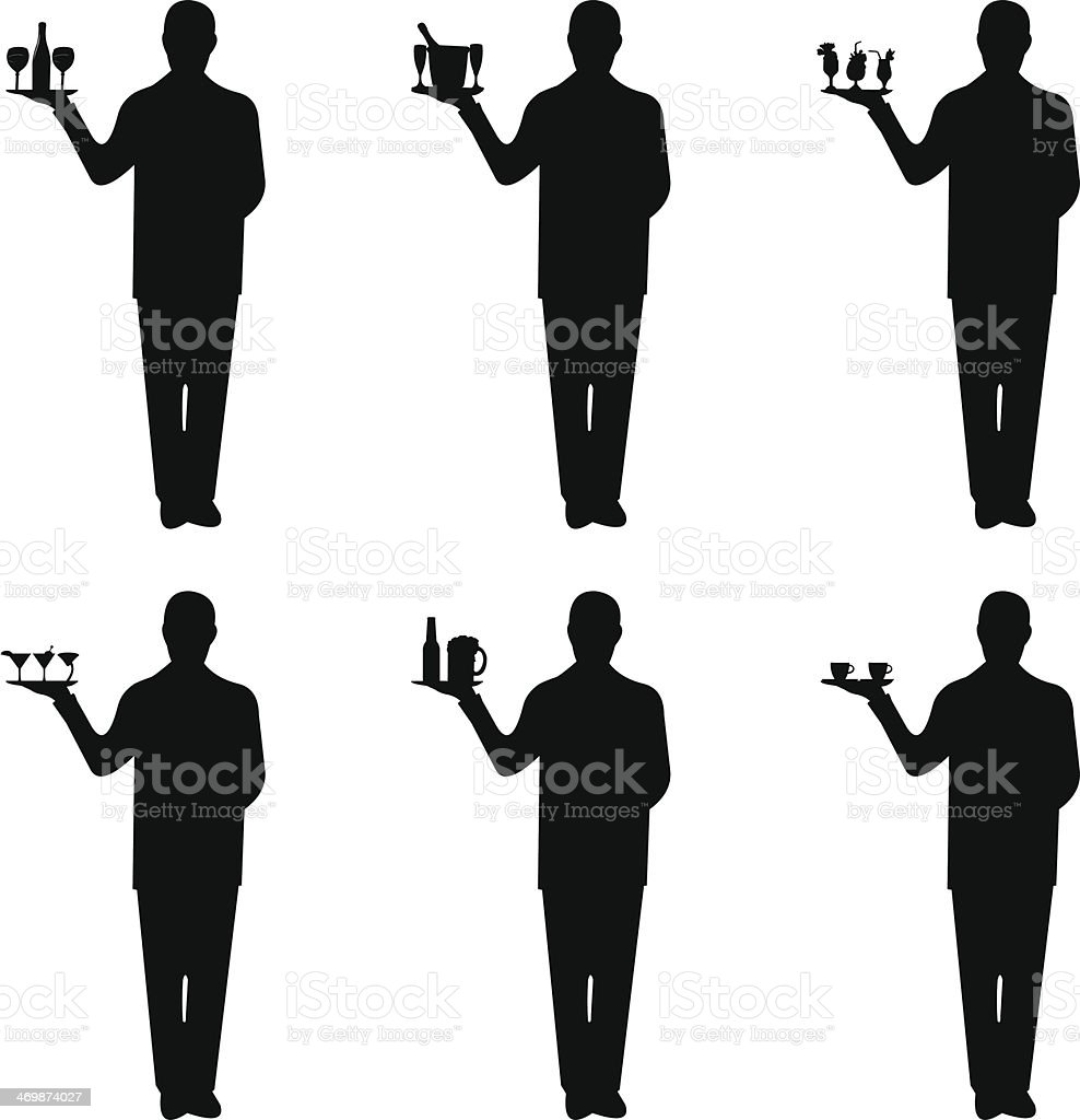 Young waiter with tray and different drinks vector art illustration