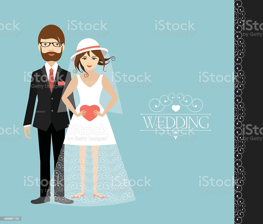 Young wedding couple. Flat illustration. vector art illustration