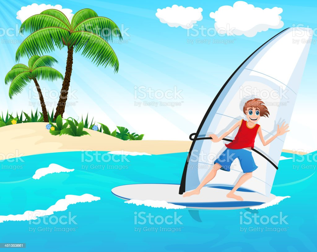 Young windsurfer vector art illustration