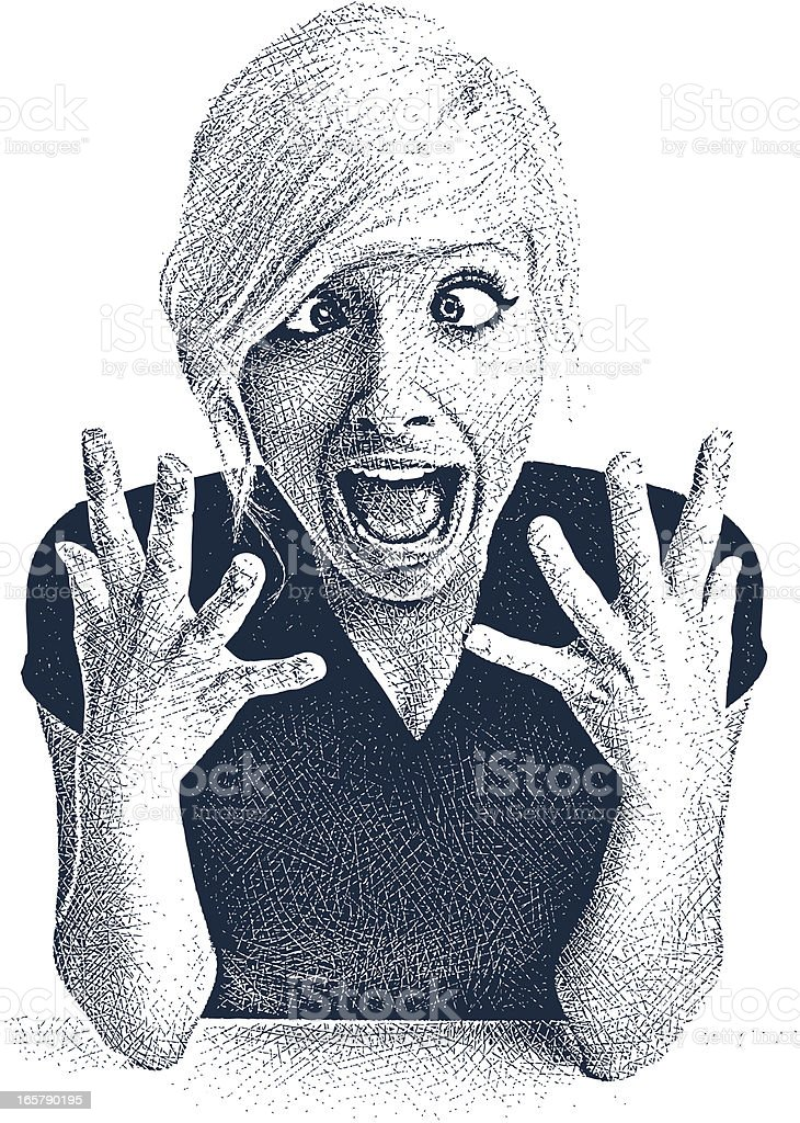 Young Woman and Shocked Expression vector art illustration