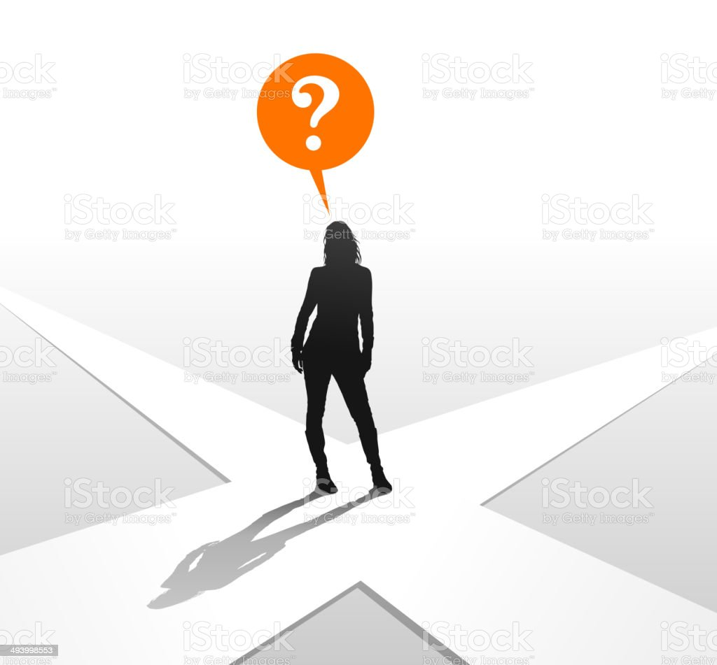 Young Woman at Crossroads royalty-free stock vector art
