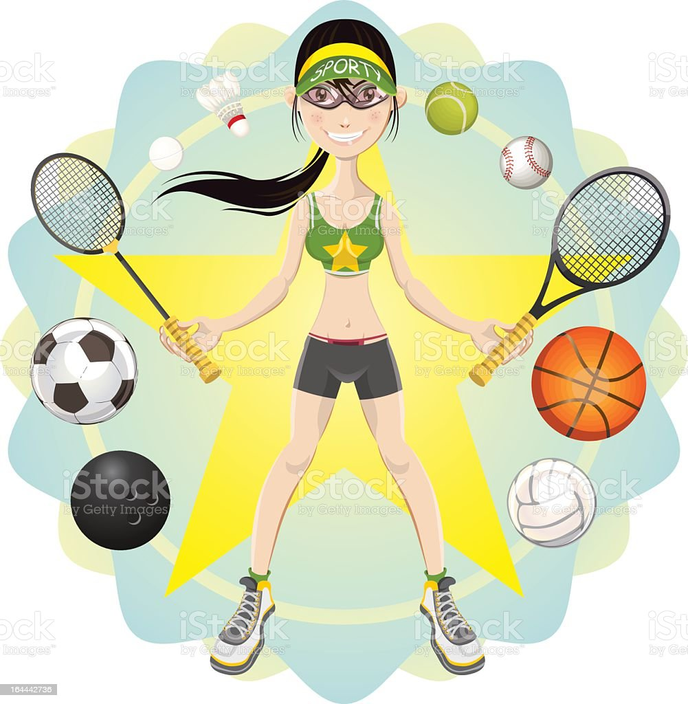 young woman athlete exercising sport game vector art illustration