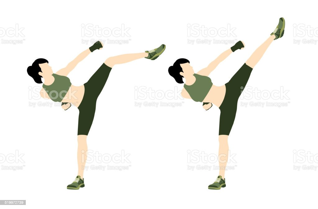 Young woman body combat and fitness vector art illustration