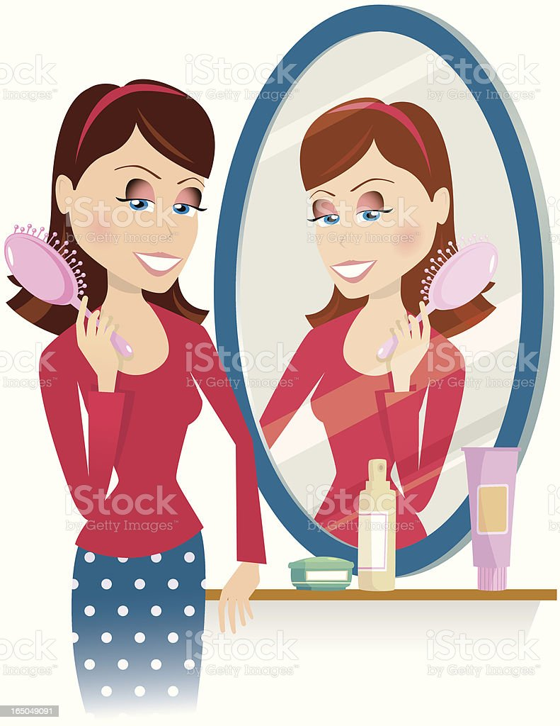 Young woman brushing hair in mirror vector art illustration