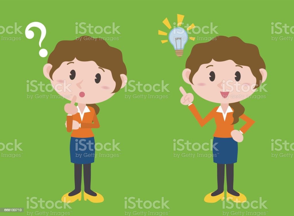 young woman character, posing question and inspiration, vector illustration vector art illustration