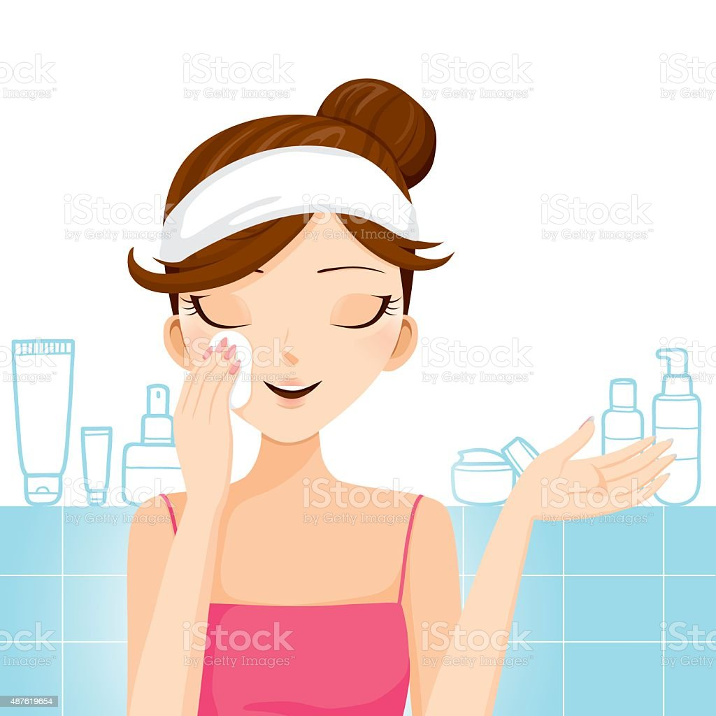 Young woman cleaning makeup on her face vector art illustration