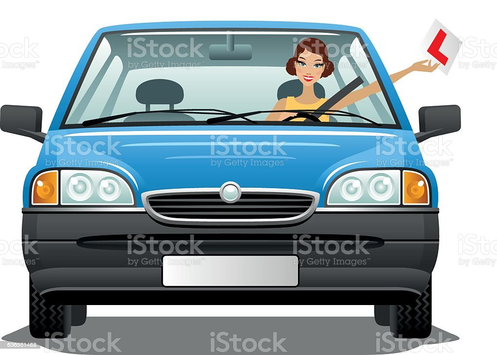 Young woman driver in a car vector art illustration