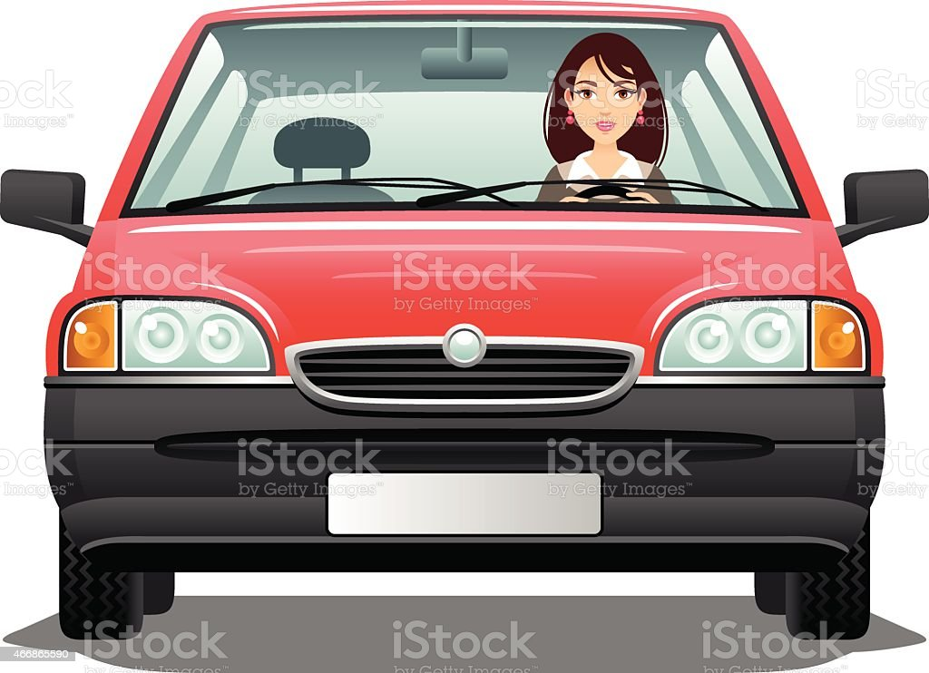 Young woman driver vector art illustration