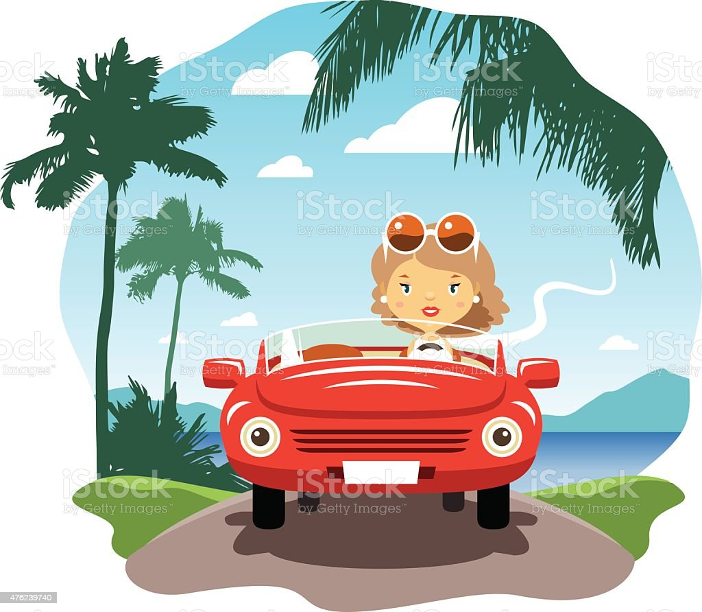 Young woman driving on the vacations vector art illustration