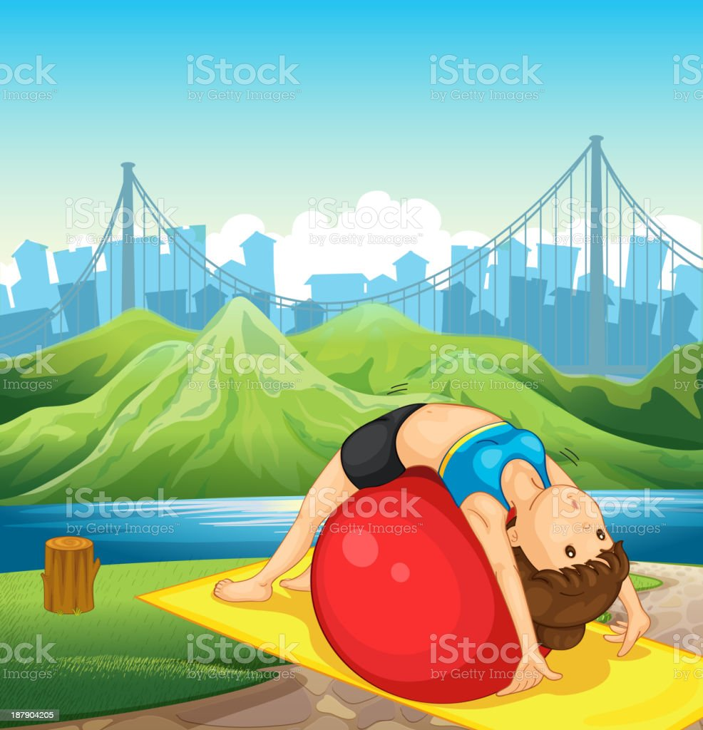 young woman exercising near the river royalty-free stock vector art
