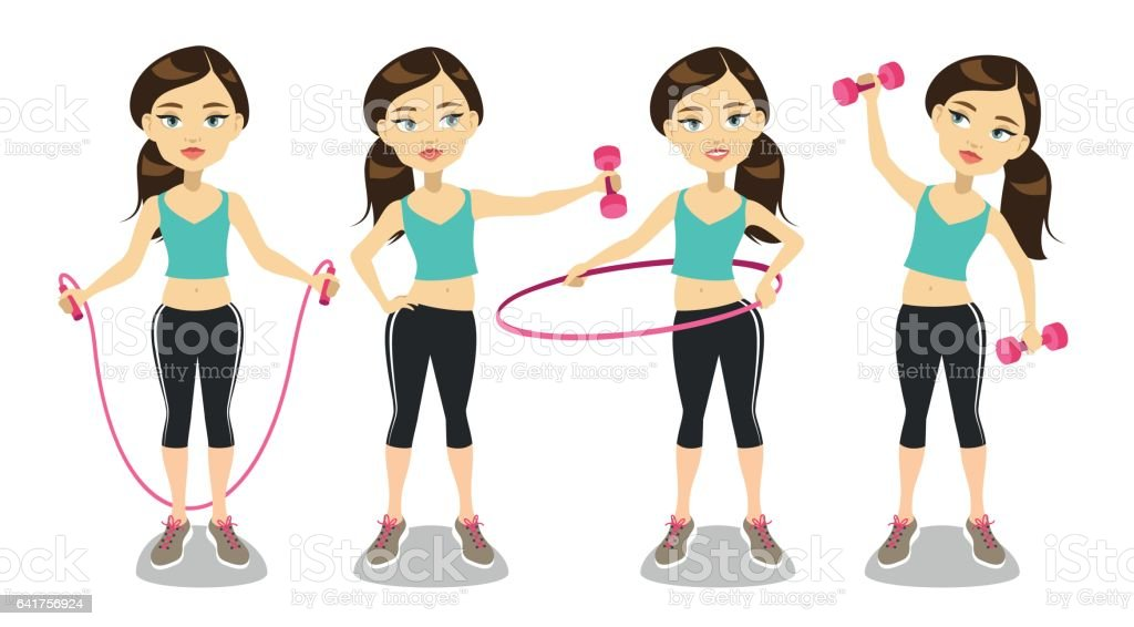 Young woman exercising vector art illustration